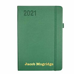 Ryman Personalised Soft Touch Diary Day to View A5 2021 Green Gold