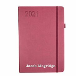 Ryman Personalised Soft Touch Diary Day to View A5 2021 Berry Silver