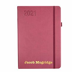 Ryman Personalised Soft Touch Diary Day to View A5 2021 Berry Gold