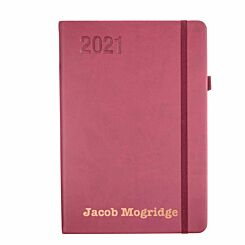 Ryman Personalised Soft Touch Diary Day to View A5 2021 Berry Rose Gold