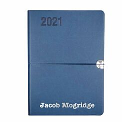 Ryman Personalised Soft Touch Flexi Diary Day to View A5 Navy Silver