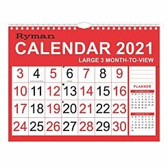 Ryman Large Calendar 3 Month to View 2021