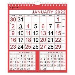 Ryman Medium 3 Month to View Calendar 2022