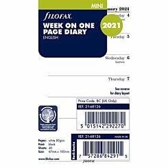 Filofax Diary Insert Week per Page Mini 2021