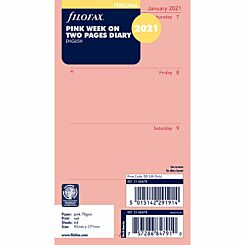 Filofax Diary Insert Week to View Personal 2021 Pink