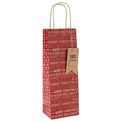 Kraft Christmas Bottle Gift Bag