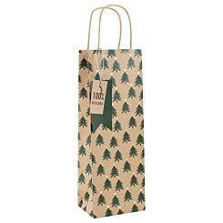 Kraft Christmas Tree Bottle Gift Bag