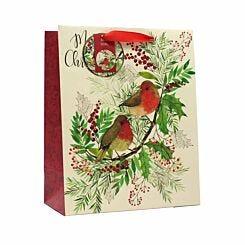 Robin Christmas Gift Bag Large