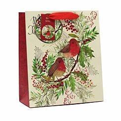 Robin Christmas Gift Bag Medium