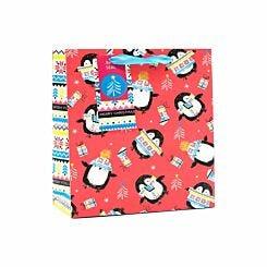 Neon Penguins Christmas Gift Bag Large