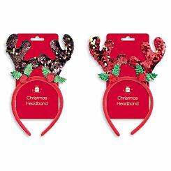 Reindeer Antlers Christmas Headband with Reverse Sequin