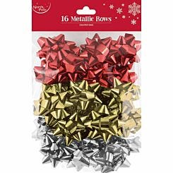 Metallic Mix Christmas Bows Pack of 16