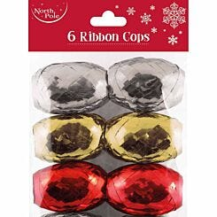 Metallic Mix Christmas Ribbon Cops Pack of 6