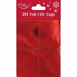 Foil Christmas Gift Tags Pack of 20 Red