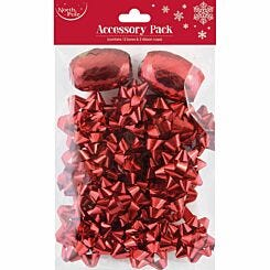 Christmas Accessory Pack with 12 Bows and 2 Cops Red