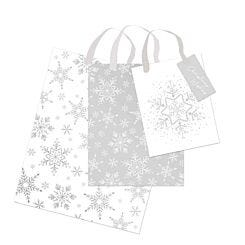 Silver and White Christmas Gift Bags Pack of 3