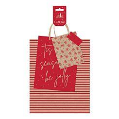 Red Kraft Christmas Gift Bags Pack of 3