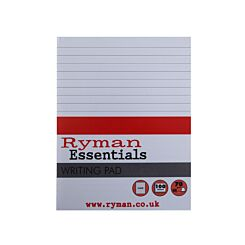 Ryman Writing Pad Ruled 175x135mm 70gsm 200 Pages 100 Sheets