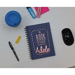 Heritage Personalised Notebook of Ideas in Copper Foil Navy