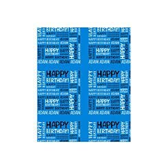 Ryman Personalised Wrapping Paper Happy Birthday 1 Metre x 1 Metre Blue