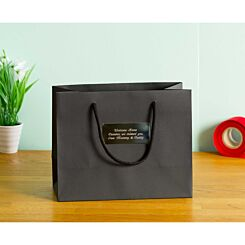 Personalised Luxury Medium Black Gift Bag with Engraved Silver Plate