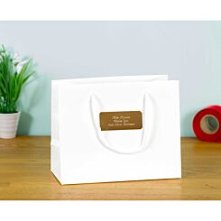 Personalised Luxury Medium White Gift Bag with Engraved Gold Plate
