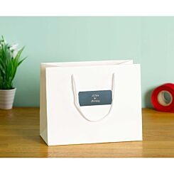 Personalised Luxury Medium White Gift Bag with Engraved Silver Plate