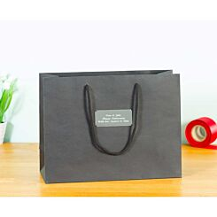 Personalised Luxury Large Black Gift Bag with Engraved Silver Plate