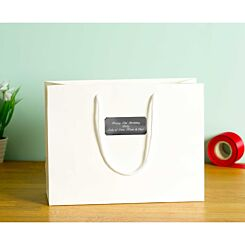 Personalised Luxury Large White Gift Bag with Engraved Silver Plate