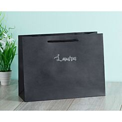Personalised Luxury Large Black Gift Bag with Silver Foil