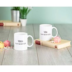Ryman Personalised Mr and Mrs Surname Mug Set