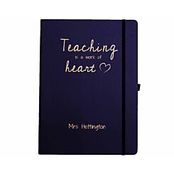 Ryman Personalised Soft Cover Large Notebook Teaching is a Work of Heart in Copper Foil