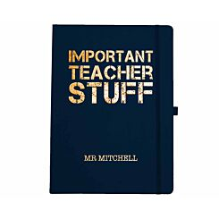 Ryman Personalised Soft Cover Large Notebook Important Teacher Stuff in Copper Foil