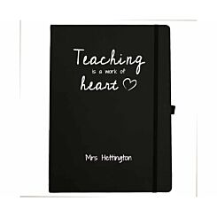 Ryman Personalised Soft Cover Large Notebook Teaching is a Work of Heart in Silver Foil