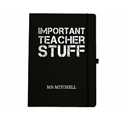 Ryman Personalised Soft Cover Large Notebook Important Teacher Stuff in Silver Foil