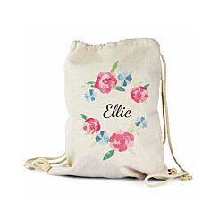 Ryman Personalised Floral Drawstring PE Gym Bag