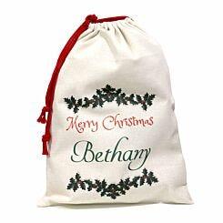 Personalised Christmas Santa Gift Sack Holly Design