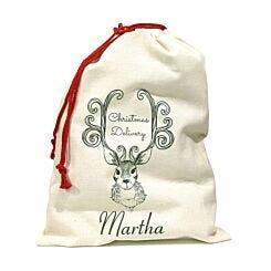 Personalised Christmas Santa Gift Sack Antlers Design