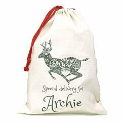 Personalised Christmas Santa Gift Sack Reindeer Design