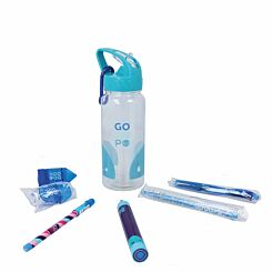 GOGOPO Blue Stationery Filled Reusable Bottle