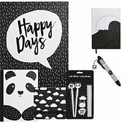 Scandi Mono Panda Stationery Bundle