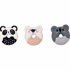 GOGOPO Doughnut Animal Erasers Pack of 3