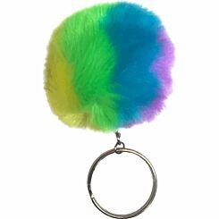 GOGOPO Fluffy Neon Pom Pom Keyring