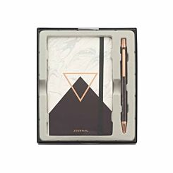 Notebook and Pen Gift Set Black/White Marble