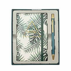 Notebook and Pen Gift Set Palm Print