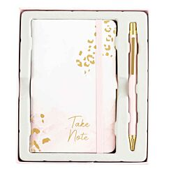 Pink Marble Leopard Print Notebook and Pen Gift Set