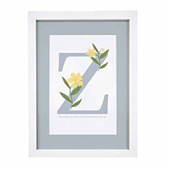 Personalised Floral Initial A4 Framed Print
