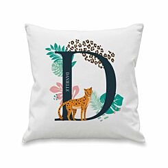 Personalised Leopard Initial Cushion