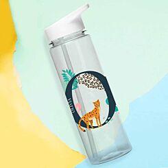 Personalised Leopard Initial Water Bottle