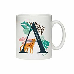 Personalised Leopard Initial Mug